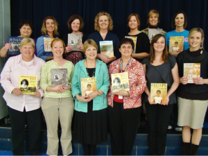 "Photo of Andrea with Teachers for ""Author of the Year"""